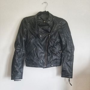 Vegan faux leather moto jacket